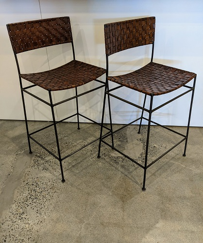 """Pair David Smith & Co. iron/leather counter stools. Purchased in 2005. 24.5""""w x 18.75""""d x 36.5""""h. Orig. price: $800. pr. Modele's price: 450. pair"""