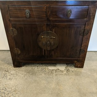 """**ITEM NOW SOLD** Chinese elm cabinet, purchased from Glenn Richards in 2006. 38.5""""w x 16.5""""d x 34""""h. Orig. list: $1,100. Modele's price: 650."""