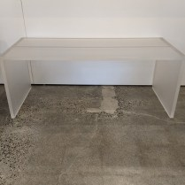 """**ITEM NOW SOLD** Custom acrylic waterfall coffee table, designed by Olson Kundig Architects. 3/4"""" thick acrylic with frosted finish. 48""""l x 20""""d x 19""""h. 1100."""