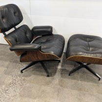 **ITEM NOW SOLD** Herman Miller vintage Eames lounge chair and ottoman in the original Brazilian rosewood. This set was purchased in 1990, the last year it was produced in this wood. Black leather, beautiful condition. 7500. set