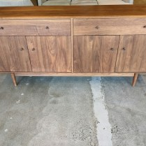 """**ITEM NOW SOLD** Room & Board 'Grove' solid walnut sideboard, 11 yrs. old, discontinued style. 72""""l x 20""""d x 32.25""""h. Orig. list: $2,700. + delivery. Modele's price: 1450."""
