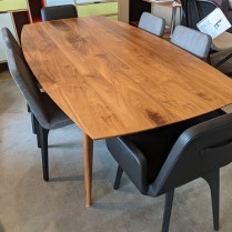 """**ITEM NOW SOLD** Room & Board 'Ventura' solid walnut dining table. Approx. 11 yrs. old. 84""""l x 42""""w x 29""""h. Orig. list: $2100. + delivery. Modele's price: 1100."""