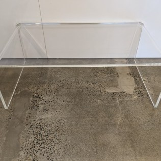 """CB2 'Peekaboo' acrylic coffee table, 2 years old. 44.25""""l x 24""""d x 16""""h. Current list: $587. (499. plus 79. freight) Modele's price: 275."""