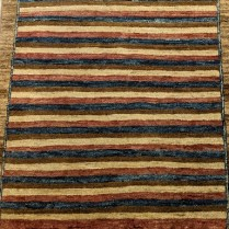 """**ITEM NOW SOLD** Modern Pakistani runner, hand-knotted, wool. 30""""w x 76""""l. Orig. list: $530. Modele's price: 295."""
