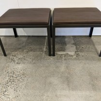 """Pair custom steel/leather benches made by US Starcraft, 10-11 years old. Bronze finish on steel, Bergamo leather on seats. 24""""w x 20""""d x 18.25""""h. Orig. list: $5,490. pair. Modele's price: 2395. pair"""