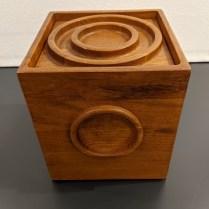"**ITEM NOW SOLD** Vintage Dansk ice bucket in teak with interior hard plastic liner, c. 1981. 9"" cube. 125."