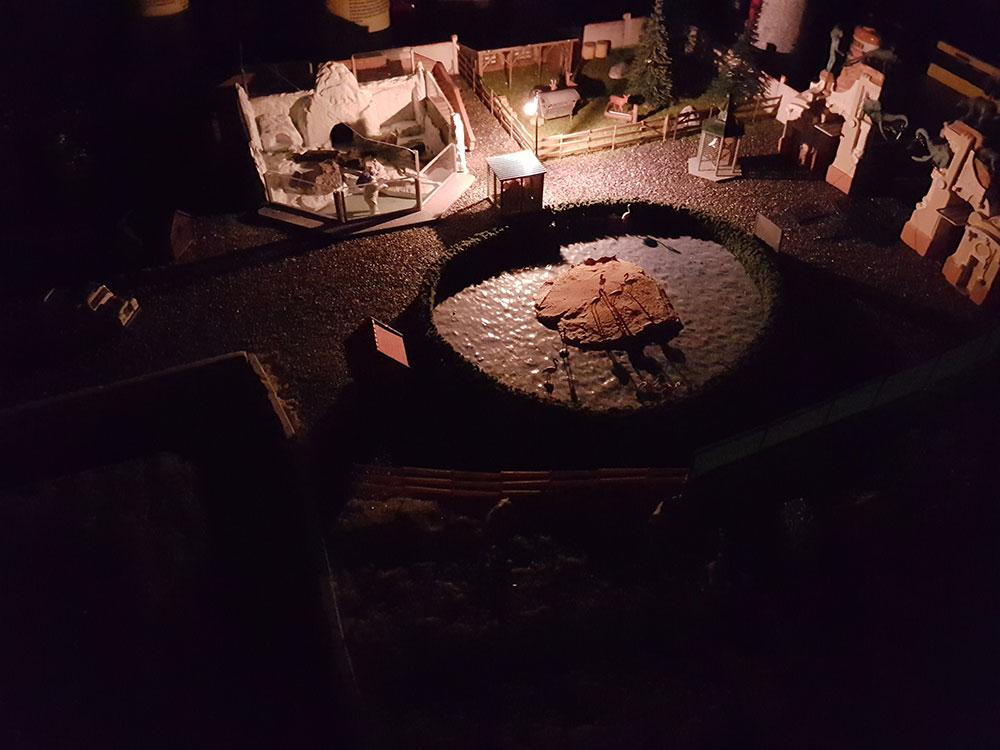 Test der leuchtenden Lampe im Modellbahn Zoo (Teststellung)