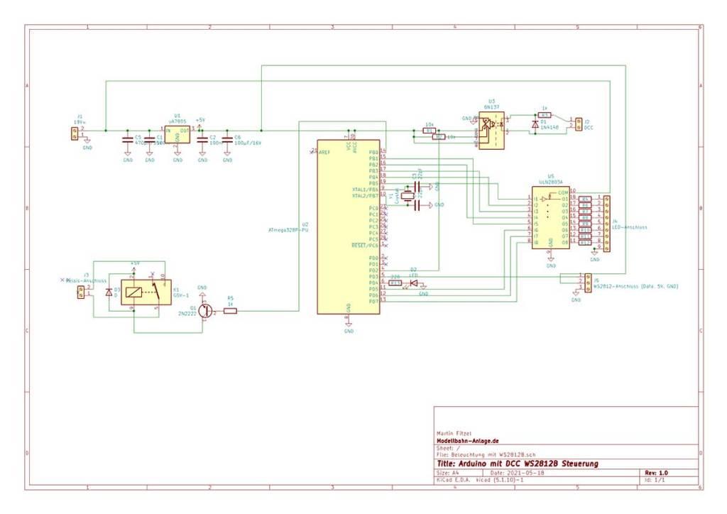 Schaltplan Beleuchtung Decoder WS2812B
