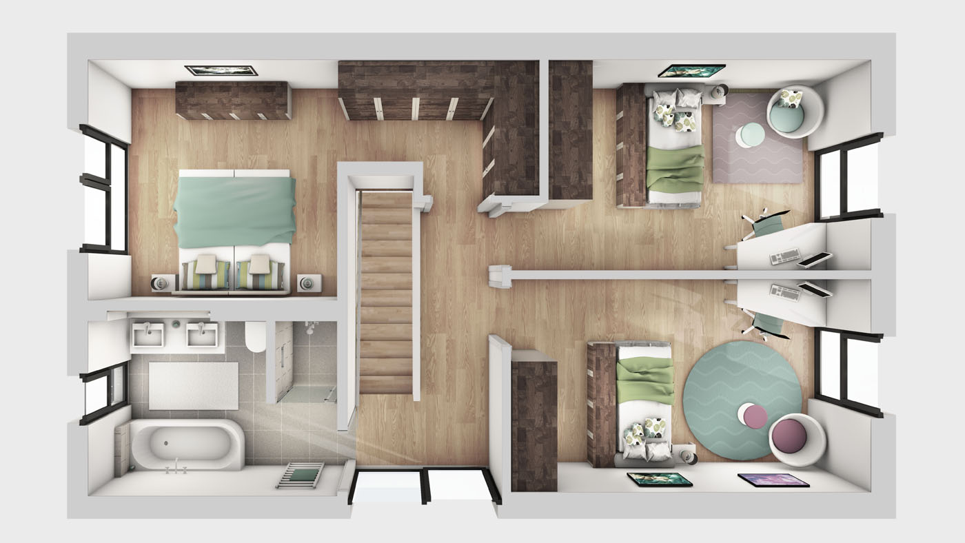 Architektur Visualisierungen 3D Grundriss Innenraum