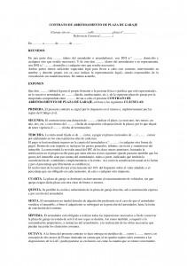 Modelos Contrato De Arrendamiento De Plaza De Garaje