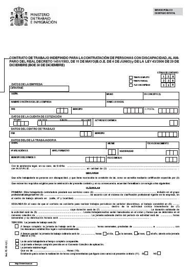 Contratos discapacidad contrato indefinido para personas for Modelo contrato indefinido