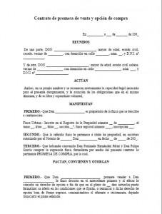 Contrato de promesa de venta y opci n de compra modelo for Modelo de contrato de servicio domestico