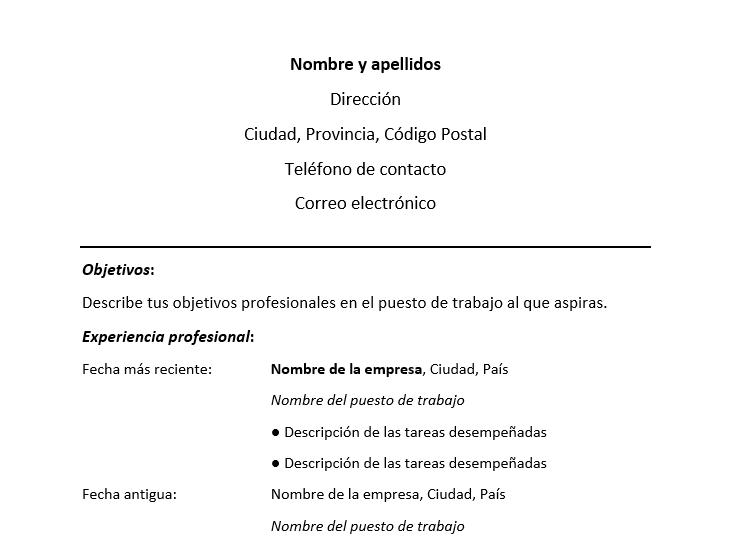 Ejemplo De Resume Cronolgico Formato De Resume Cronolgico Modelo Curriculum