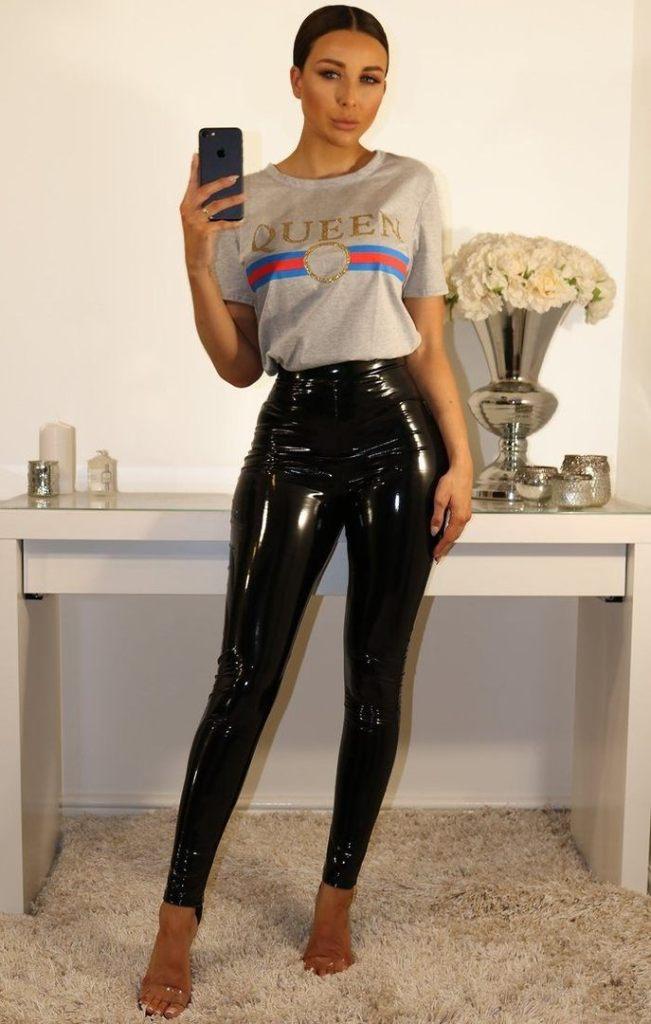 black shine trousers