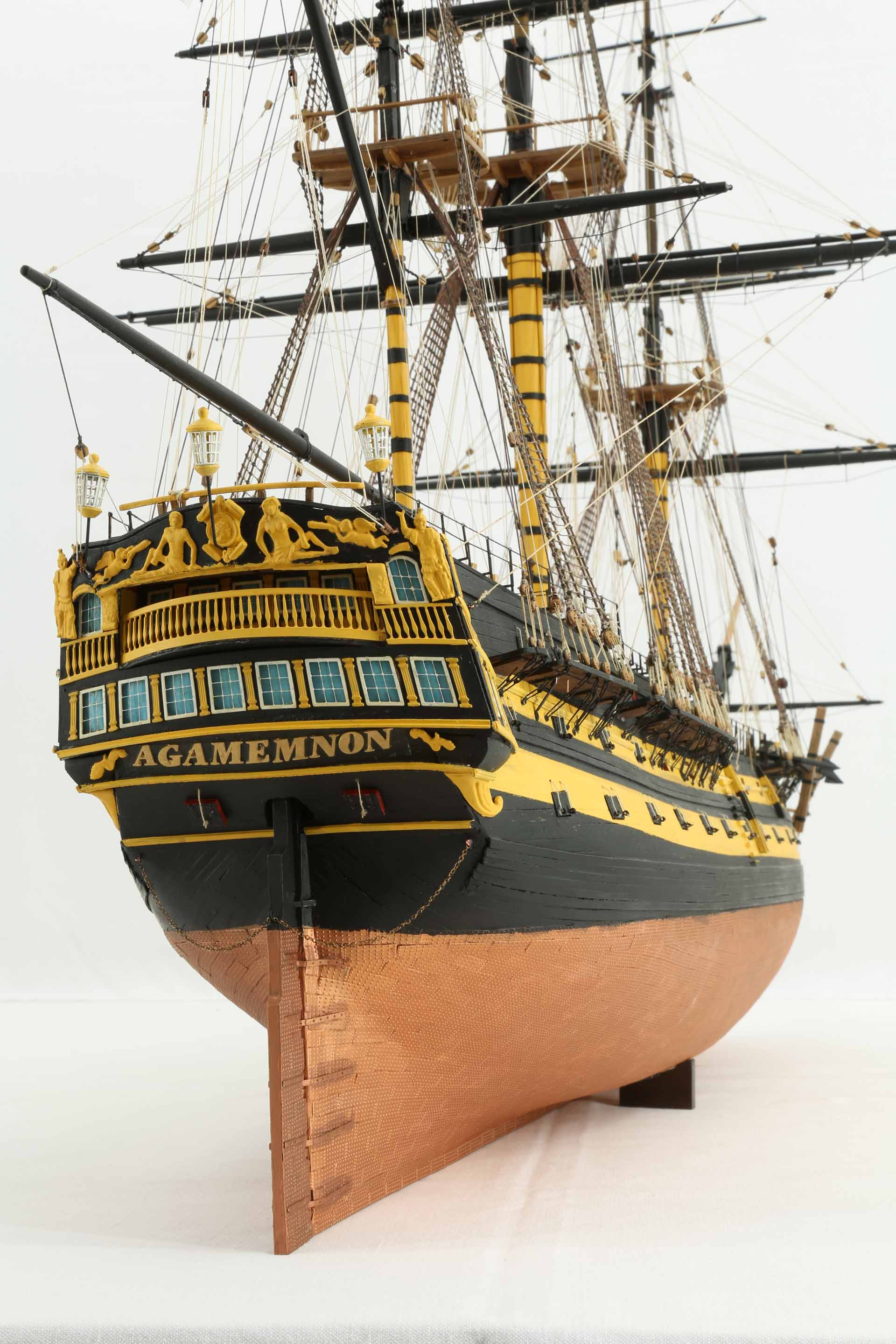 Close Up Photos Of Ship Model Of Hms Agamemnon Of 1781
