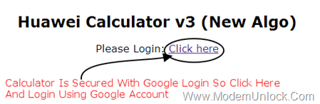 Login Huawei Code Calculator