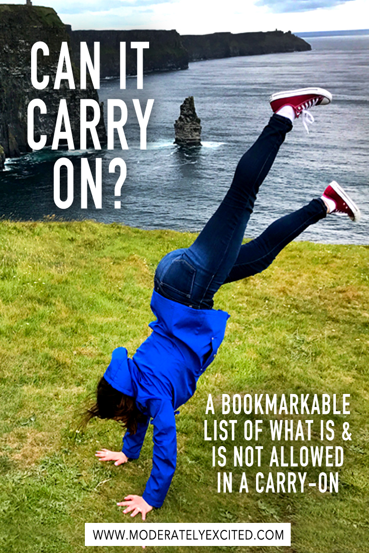 Can it carry on? A bookmarkable list of what is and is not allowed in carry-on luggage for your next trip!