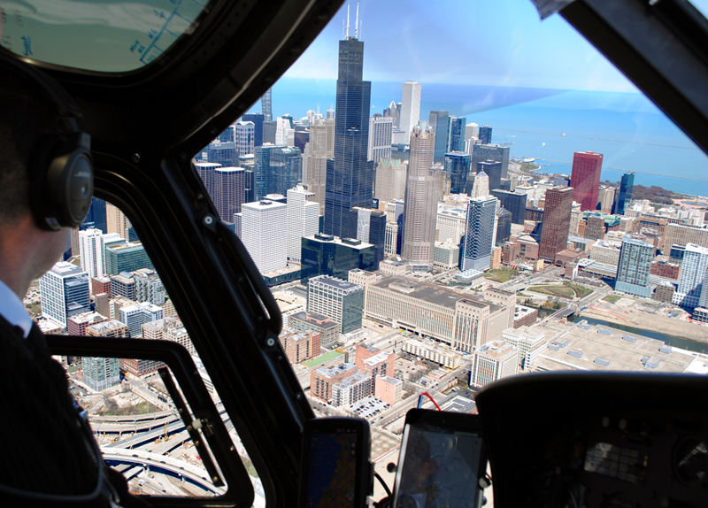 Getting up close and personal with the skyscrapers of Chicago during a helicopter ride