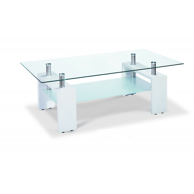 telford coffee table clear glass top frosted glass shelf gloss white legs