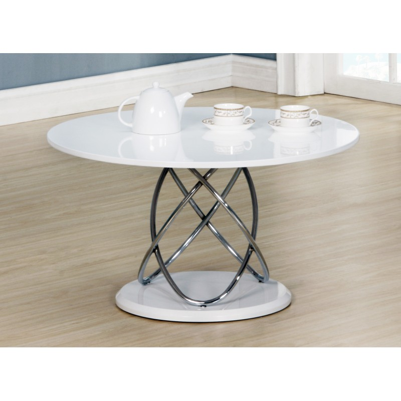 eclipse white gloss round coffee table with chrome spiral frame