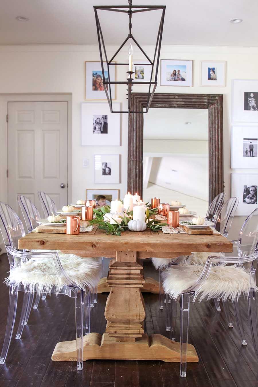 Modern Farmhouse Fall Dining Room Decor - Fall Home Tour on Farmhouse Dining Room Curtains  id=49053