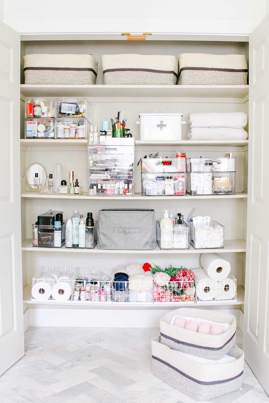 Linen Closet Organization Makeover Modern Glam