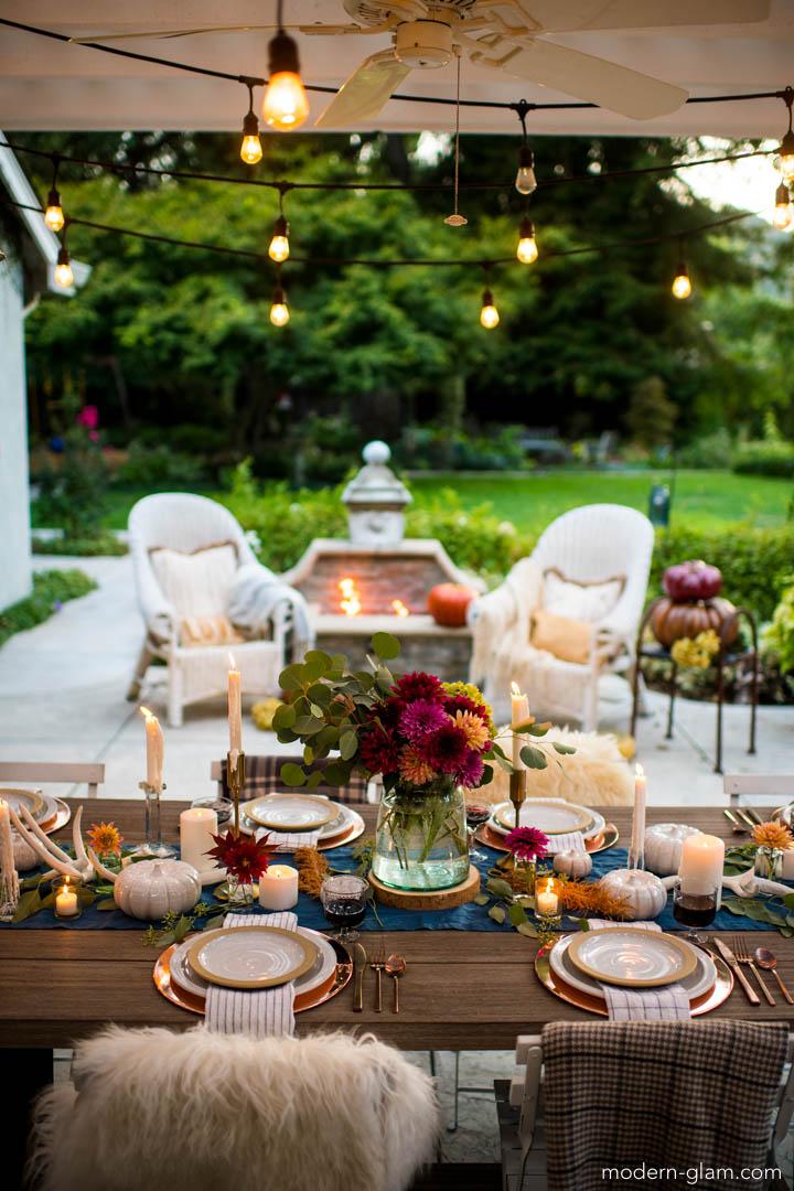 Outdoor Fall Tablescape - An Autumn Harvest Table - Modern ... on Backyard Table Decor id=27750