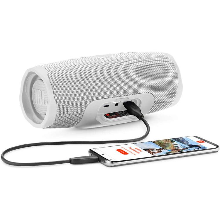 This image has an empty alt attribute; its file name is JBL-Charge-4-Waterproof-Portable-Bluetooth-Speaker_white-750x750.jpg