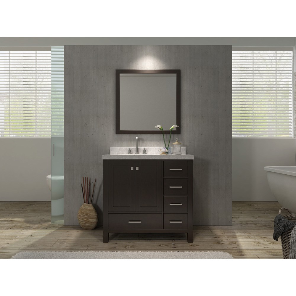 ariel cambridge 37 single sink vanity set with left offset sink and carrera white marble countertop espresso