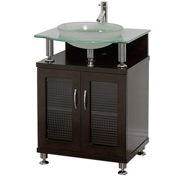 "charlton 24"" bathroom vanity with doors - espresso w/ clear or"