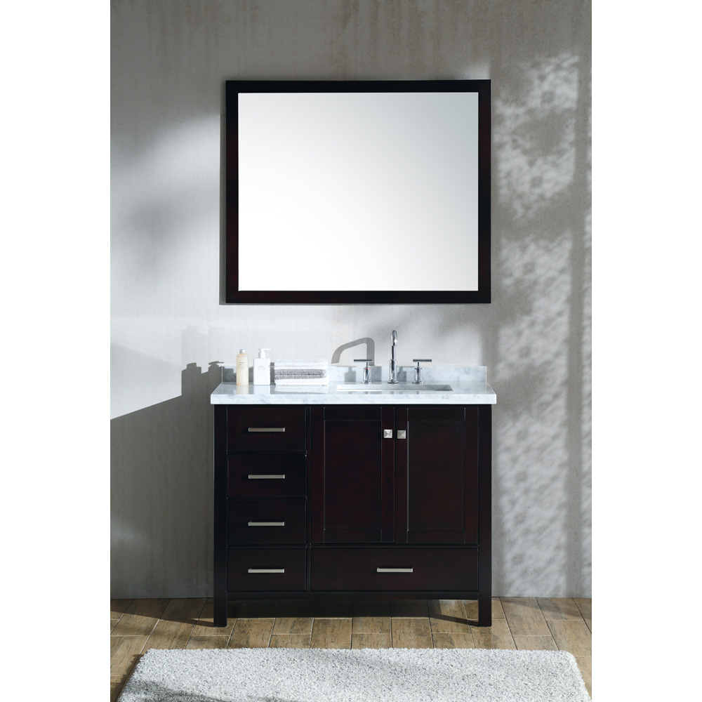 ariel cambridge 43 single sink vanity set with right offset rectangle sink and carrara white marble countertop espresso