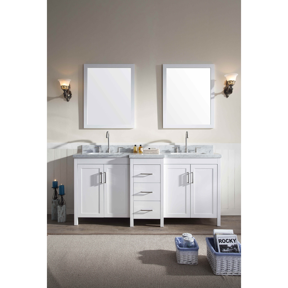 Ariel Hollandale 73 Double Sink Vanity Set With Carrera White Marble Countertop White Free