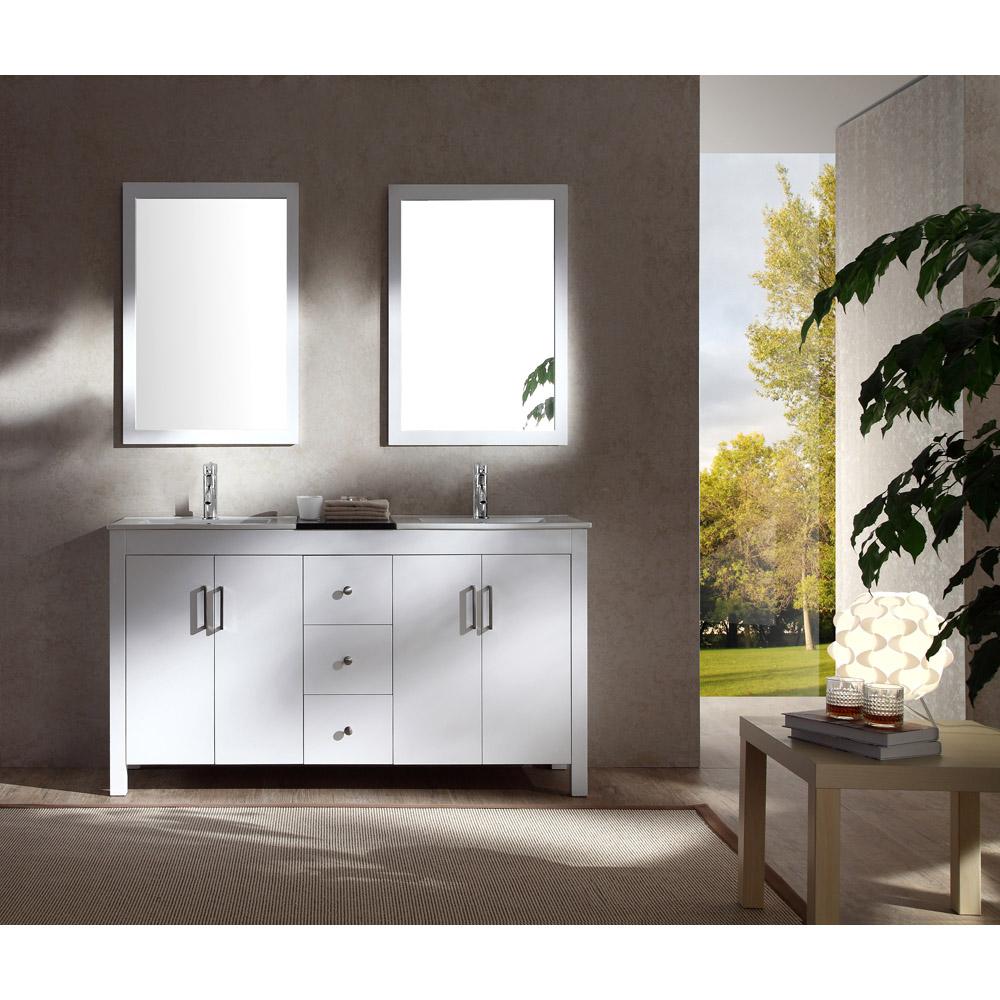 Ariel Hanson 60 Double Sink Vanity Set With Black Granite