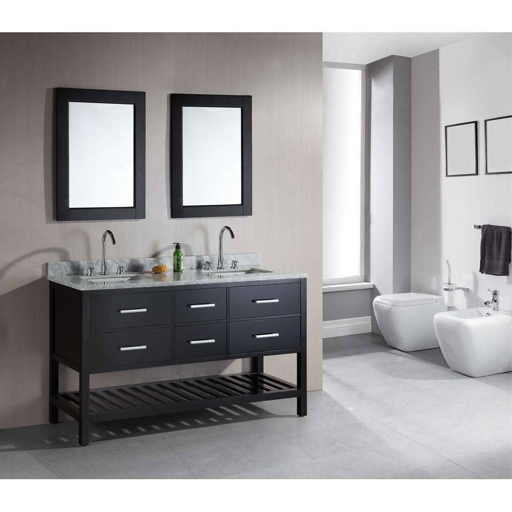 "Design Element London 61"" Double Vanity with Open Bottom ..."