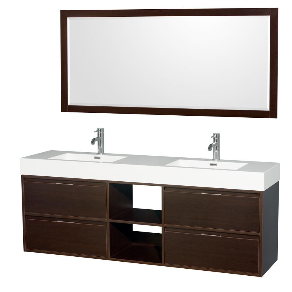 "Daniella 72"" Wall-Mounted Double Bathroom Vanity Set With ..."