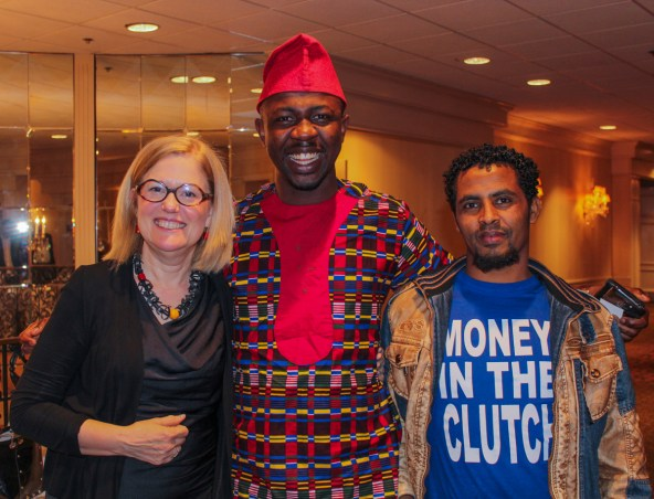 Church Lady, Edafe and Abu happy at the 2017 First Friends Benefit