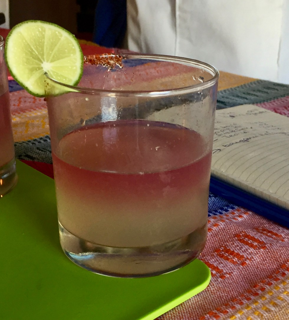 Margarita with pink and lemon colored layers