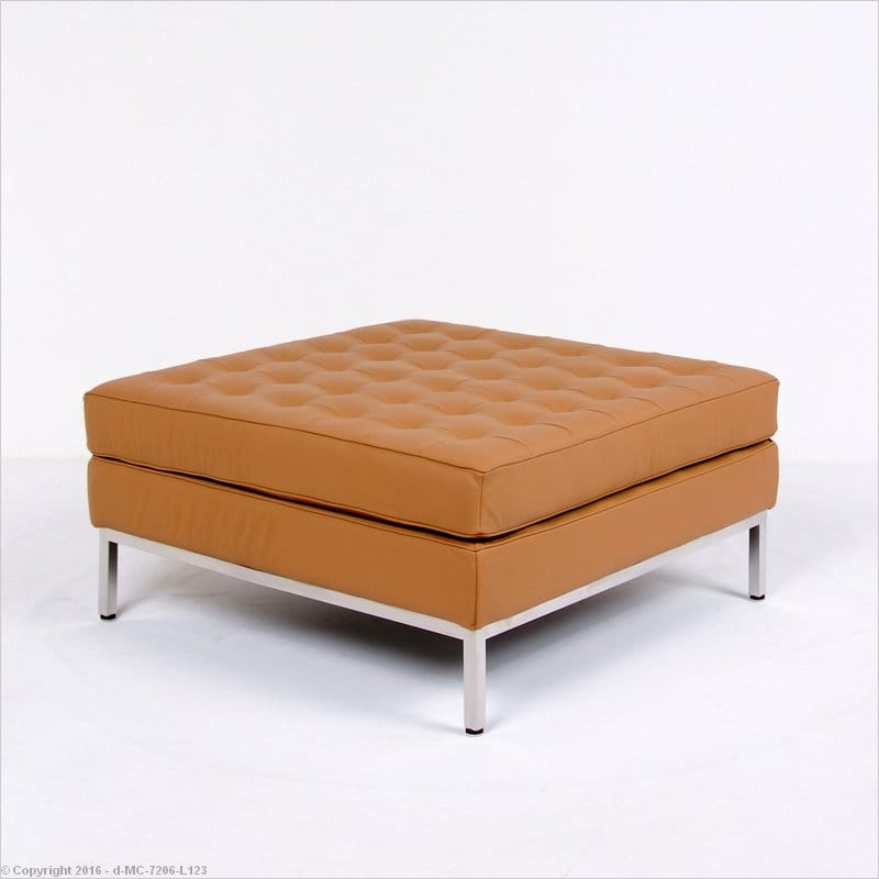 florence knoll style large square ottoman autumn tan leather