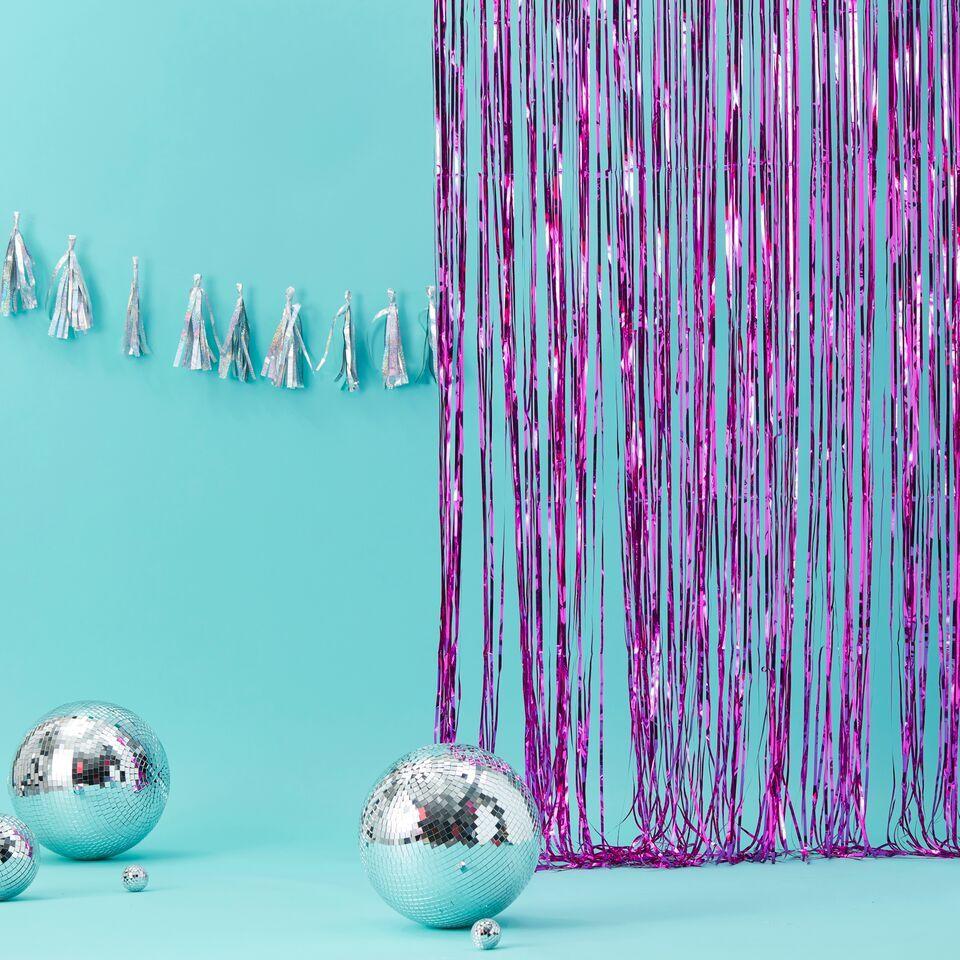 rideau a franges rose metallise modern confetti