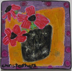 Julian Christophers, Red Flowers, Black Vase