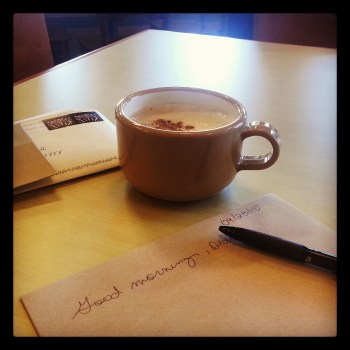 Writing Letters in a Cafe