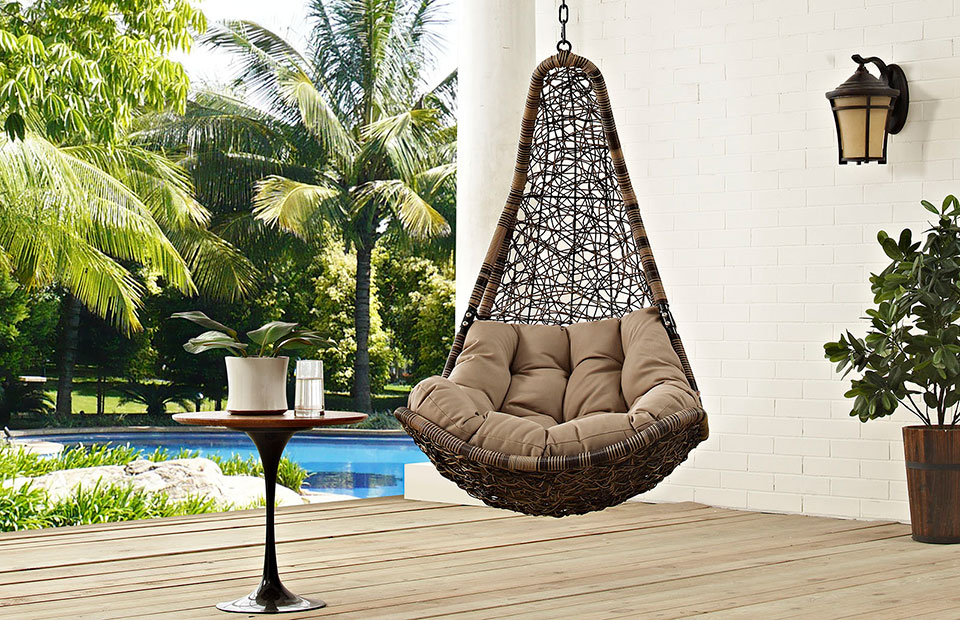 teardrop outdoor hanging chair black khaki