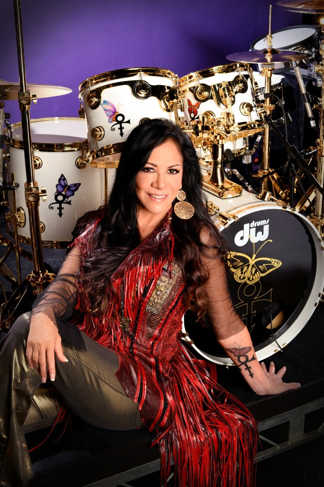 Sheila E with Prince Tribute custom drum kit by DW Drums at Center Staging, Burbank, CA on June 23, 2016 at rehearsals for BET Awards. Photograph by Rob Shanahan