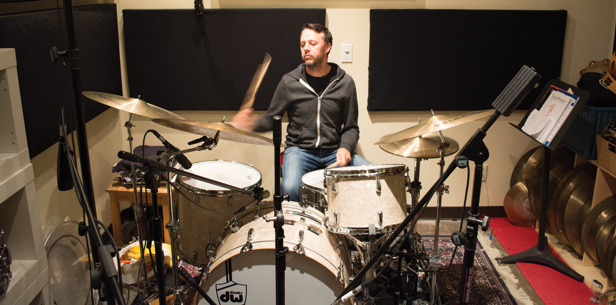 home studio drum recording with blair sinta at modern drummer magazine. Black Bedroom Furniture Sets. Home Design Ideas