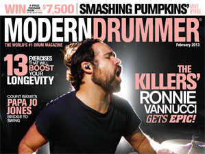 Ronnie Vannucci on the February 2013 cover of Modern Drummer magazine