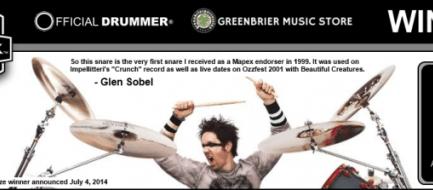 Win Alice Cooper Drummer Glen Sobel's Snare!