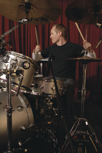 Drummer Josh Freese at the drumkit