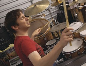 Drummer Marco Minnemann at the kit
