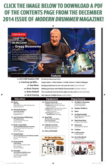 December 2014 Issue of Modern Drummer featuring Gregg BissonetteTable of Contents