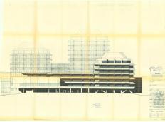 Bartsch, Thürwächter und Weber, Technisches Rathaus Frankfurt, Ansicht von Süden, 1969 (Bild: © Bauaufsicht Frankfurt am Main)